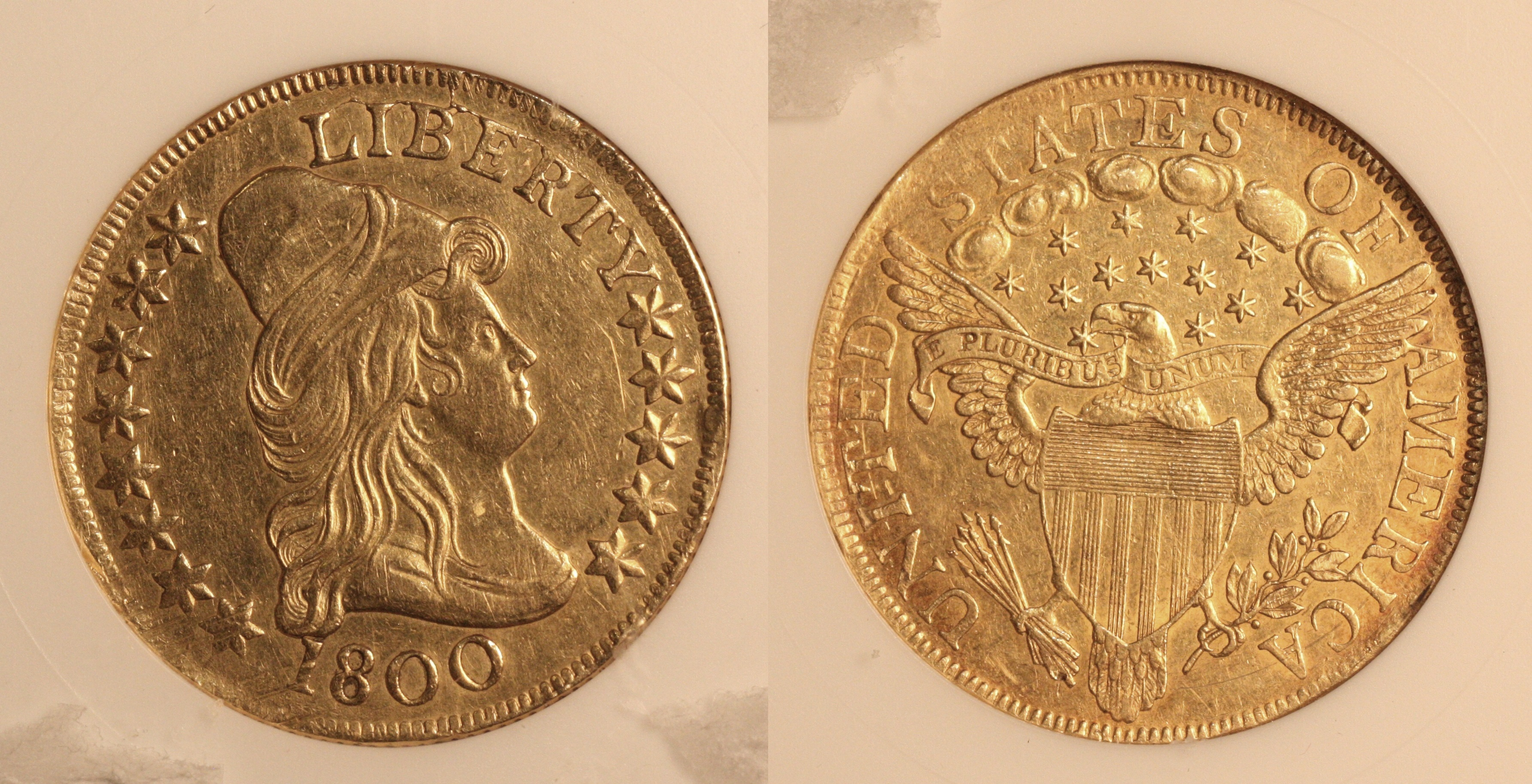 1800 $10 Turban Head Capped Bust Right Gold Eagle ANACS AU Details camera
