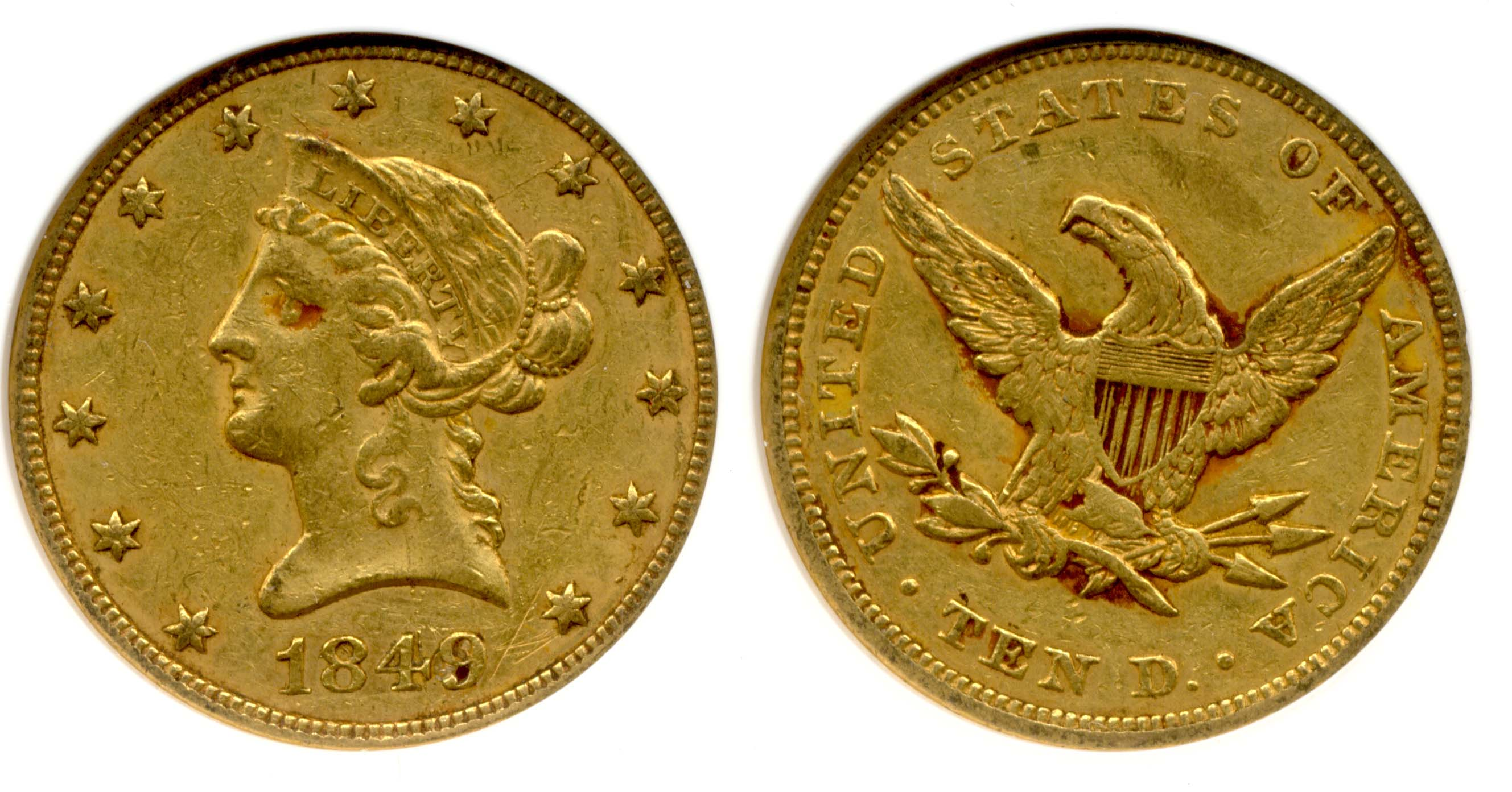 1849 $10.00 Gold Eagle ANACS AU-50 net EF-45 Repunched Date