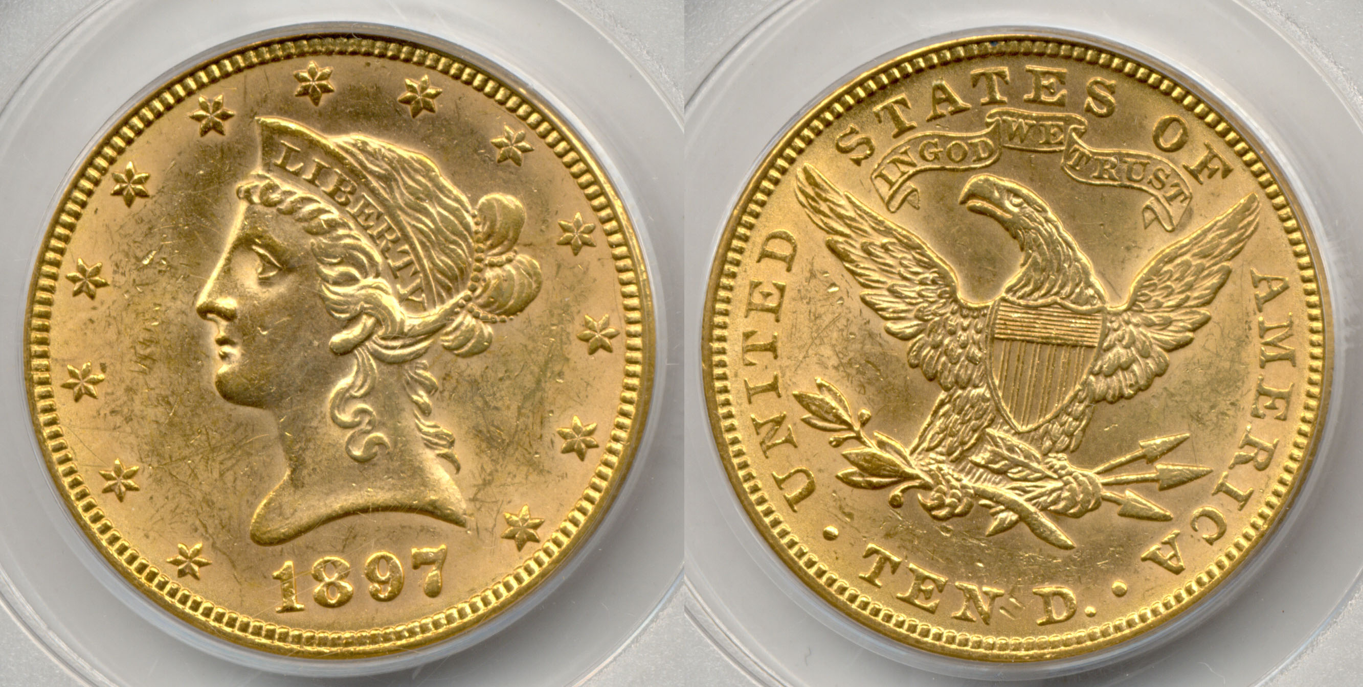 1897 Ten Dollar Gold Eagle PCGS AU-58