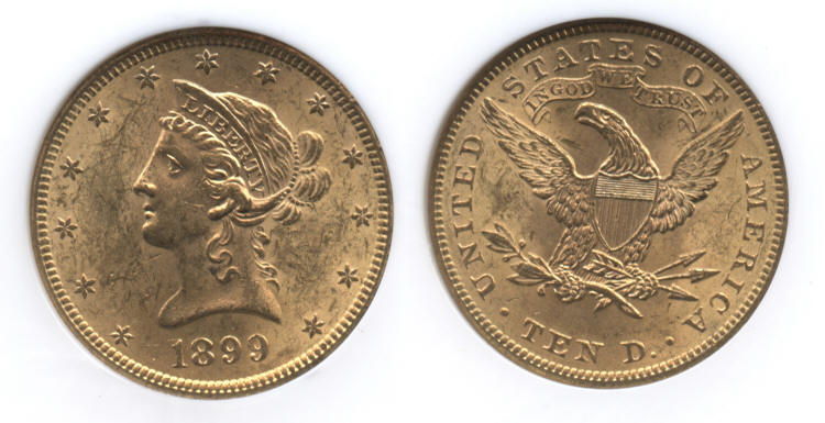 1899 Gold Liberty Head $10.00 Eagle NGC MS-62 small