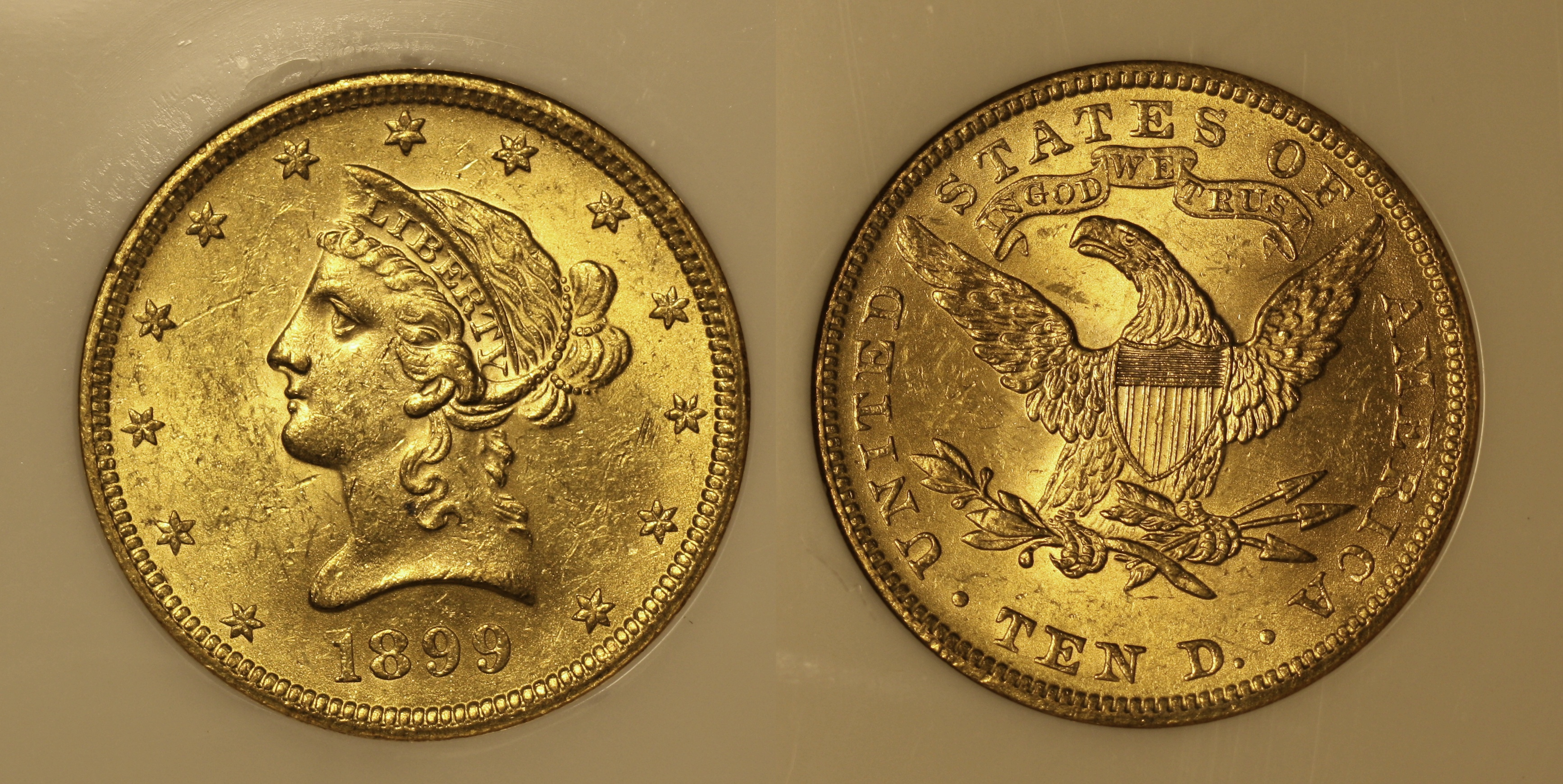 1899 Gold Liberty Head $10.00 Eagle NGC MS-62 camera