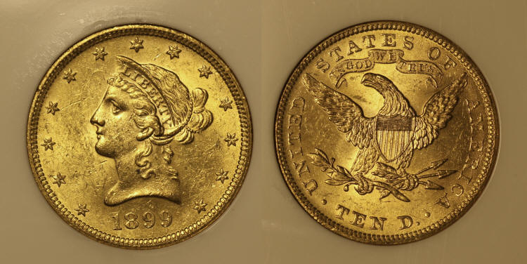 1899 Gold Liberty Head $10.00 Eagle NGC MS-62 camera small