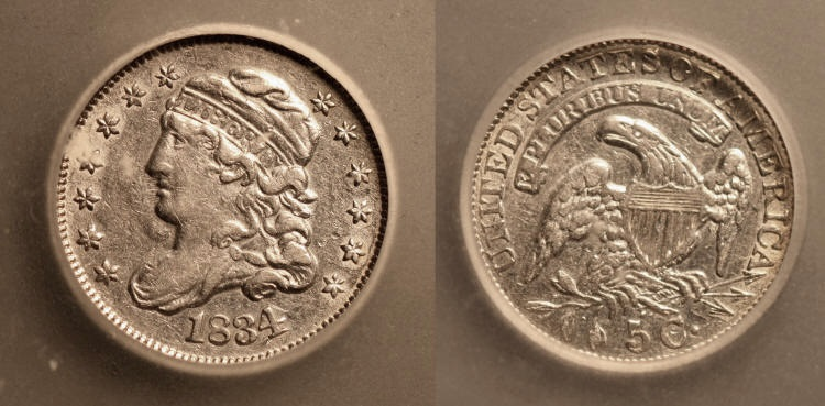 1834 Capped Bust Half Dime ICG AU-50 camera small