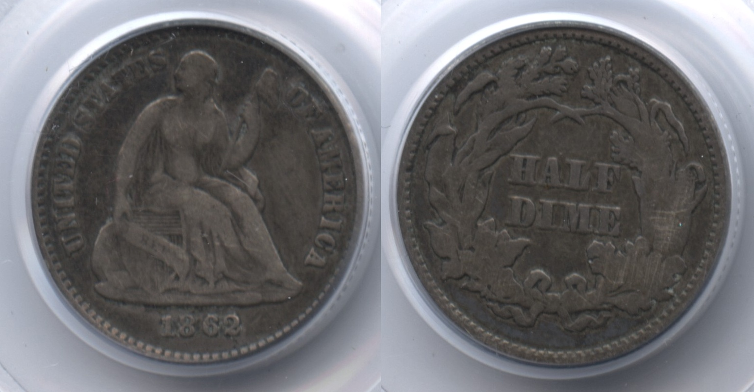1862 Seated Liberty Half Dime PCGS Fine-12