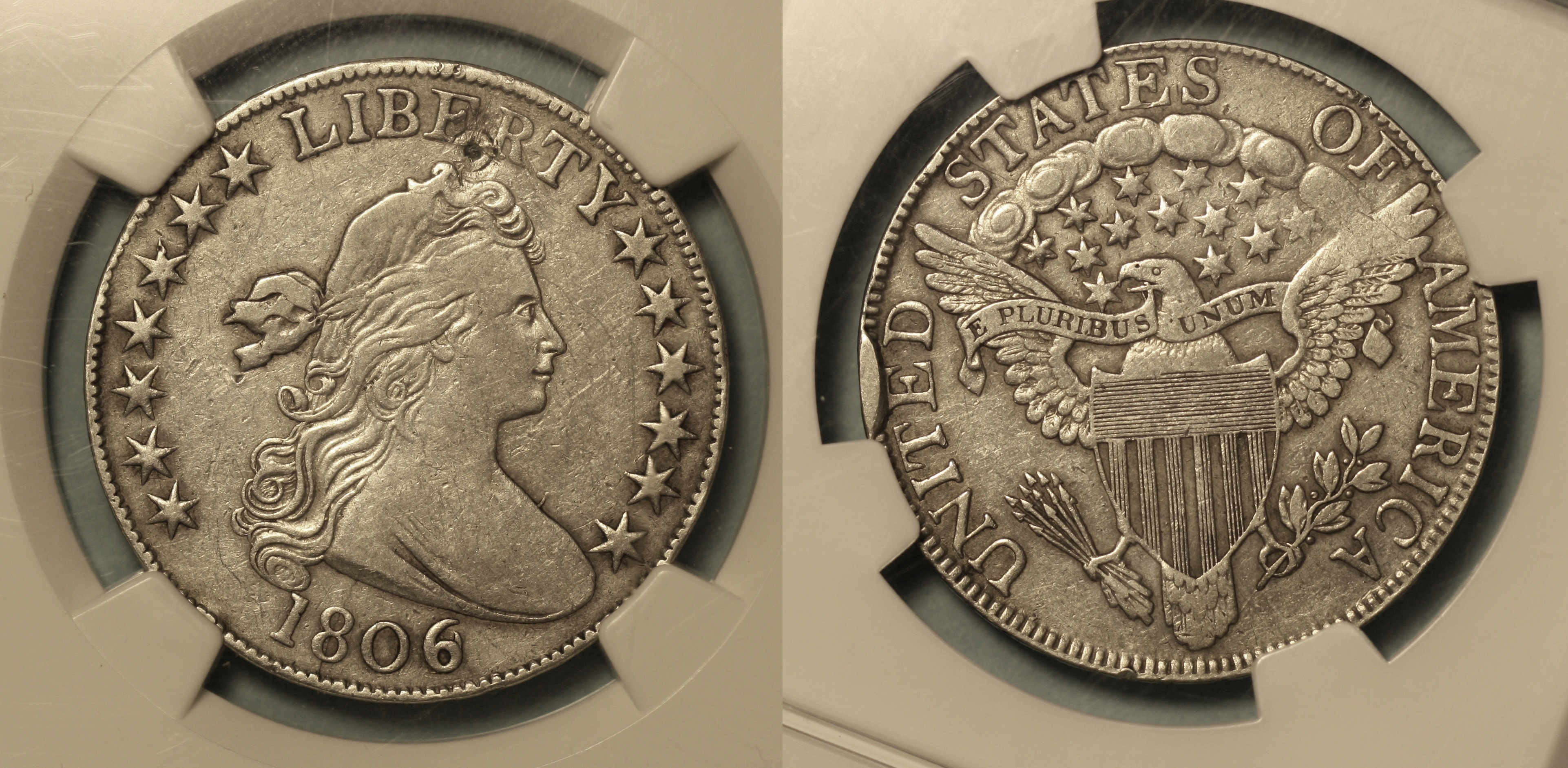1806/9 Draped Bust Half Dollar NGC EF Details camera
