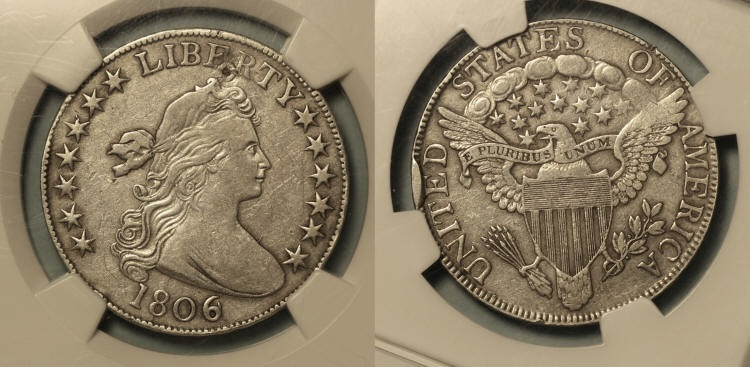 1806/9 Draped Bust Half Dollar NGC EF Details camera small