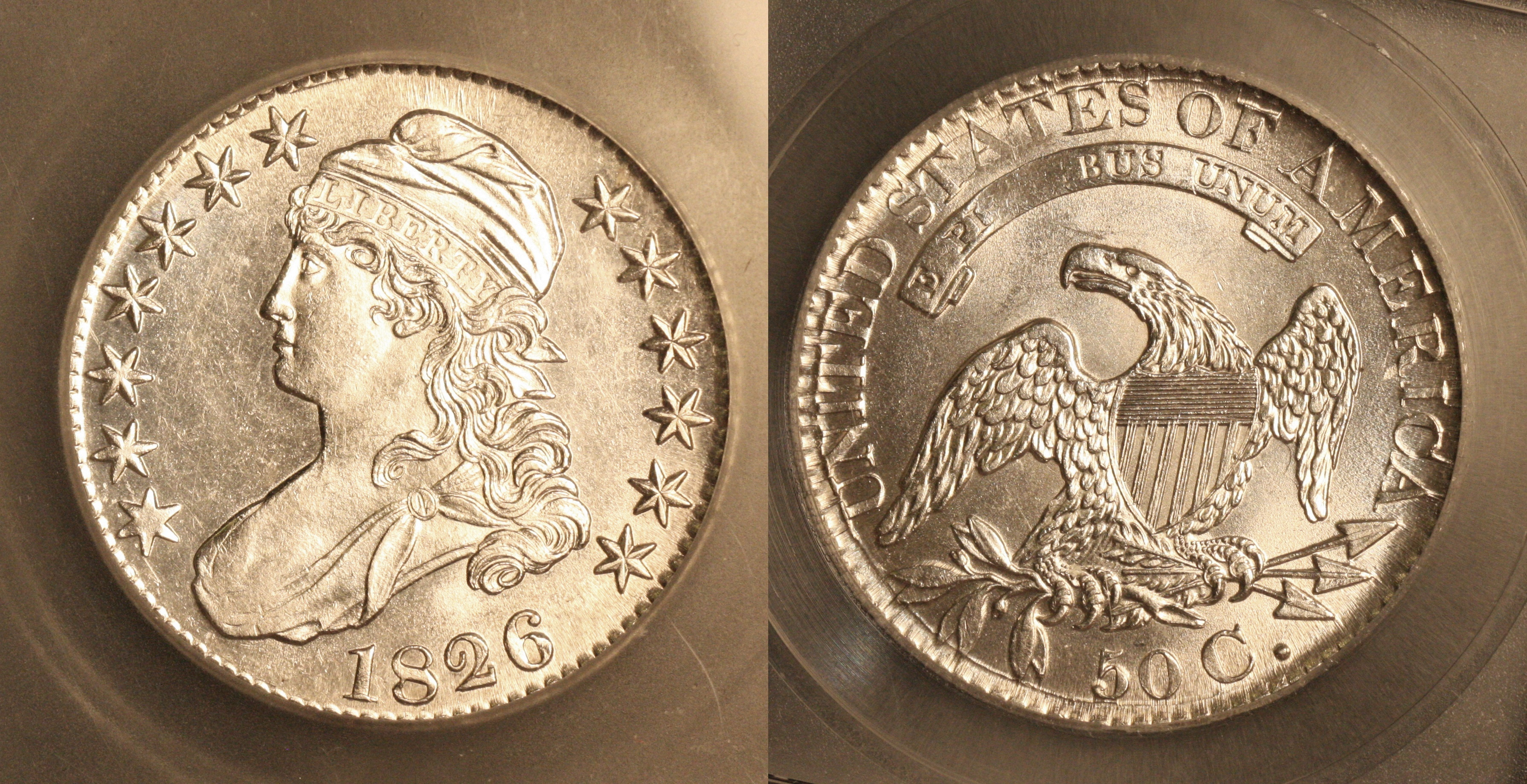 1826 Capped Bust Half Dollar ICG MS-62 camera