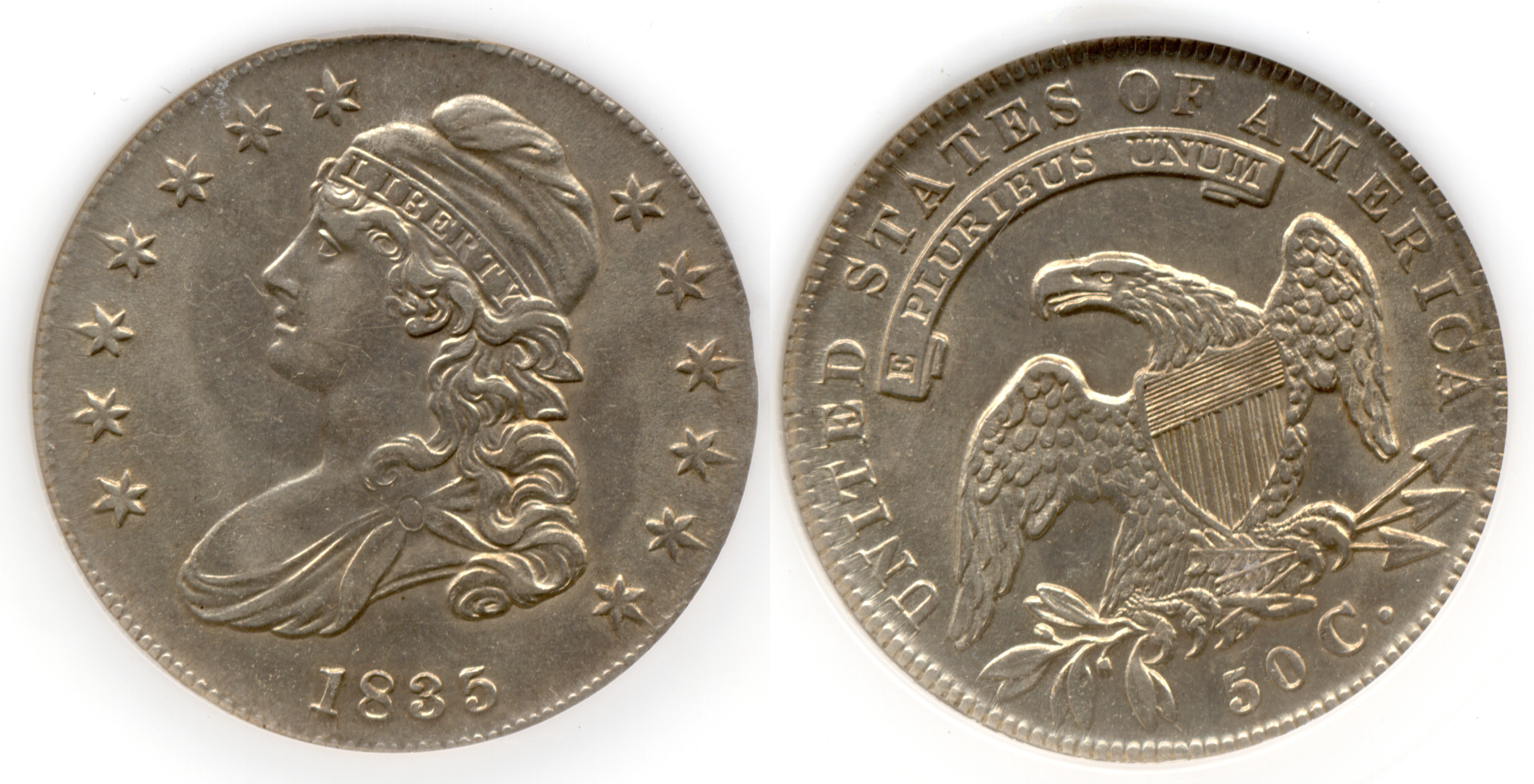 1835 Capped Bust Half Dollar PCI MS-62