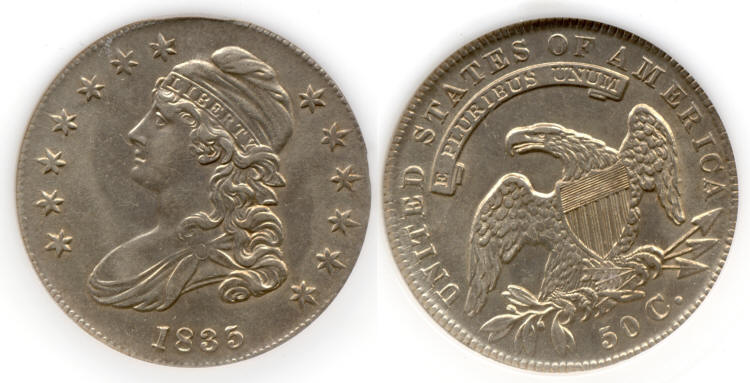 1835 Capped Bust Half Dollar PCI MS-62 small