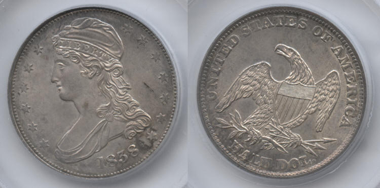1838 Reeded Edge Capped Bust Half Dollar SEGS MS-63 small