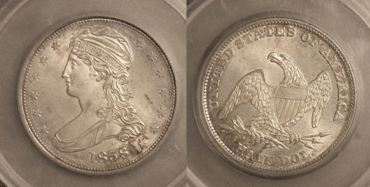 1838 Reeded Edge Capped Bust Half Dollar SEGS MS-63 camera small
