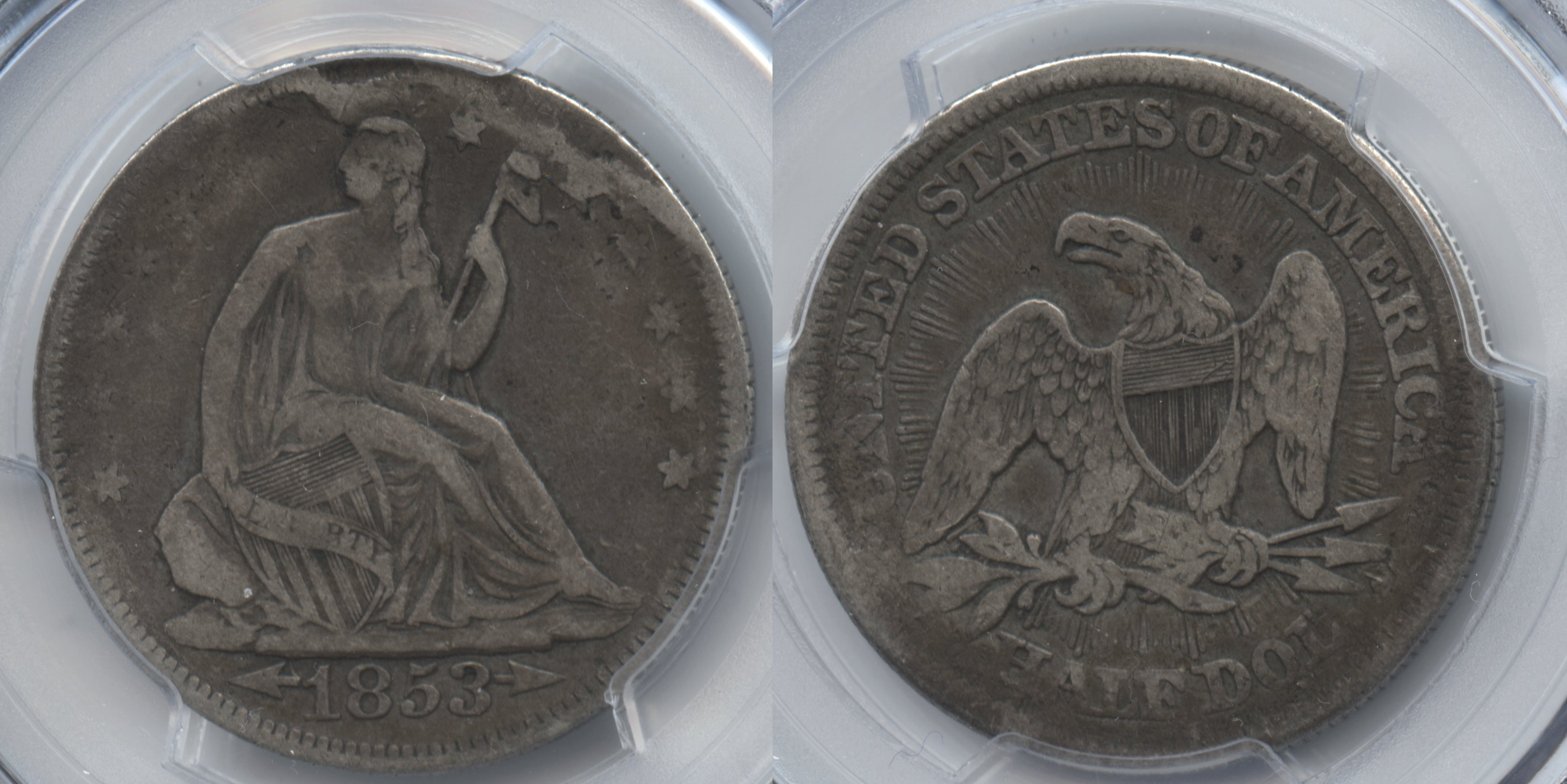 1853 Seated Liberty Half Dollar PCGS VF Details