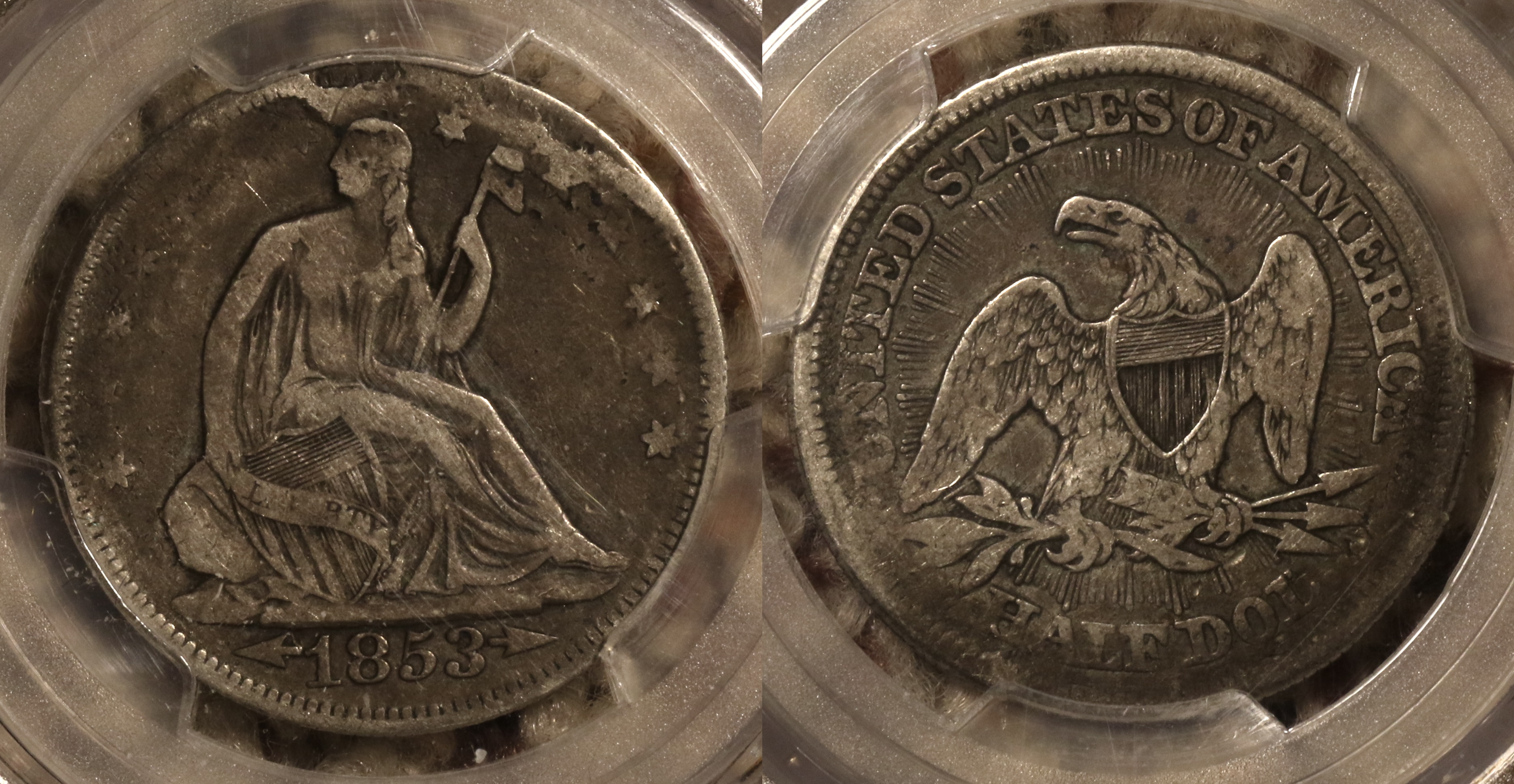 1853 Seated Liberty Half Dollar PCGS VF Details camera