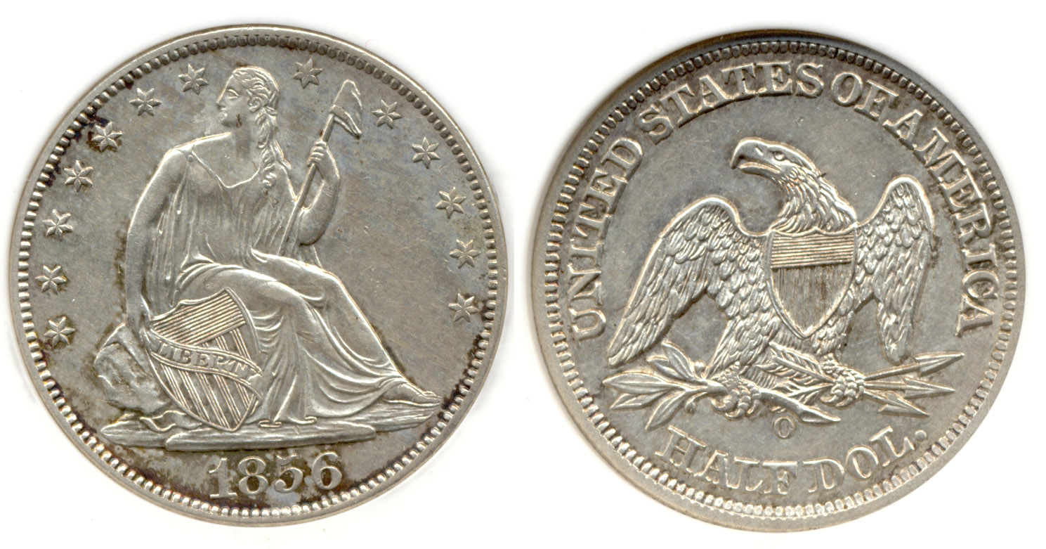 1856-O Seated Liberty Half Dollar in PCI AU-50
