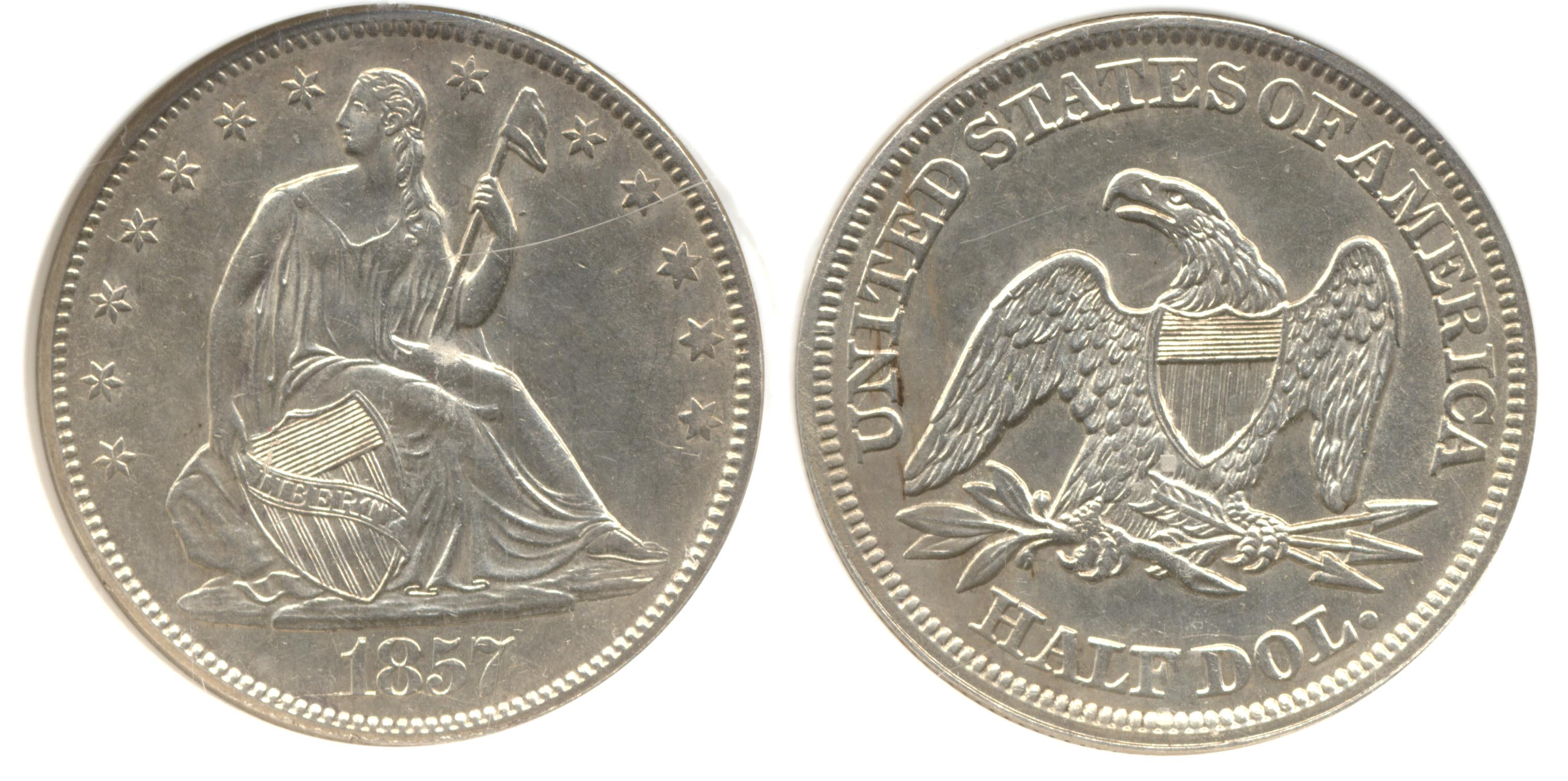 1857 Seated Liberty Half Dollar PCI MS-60