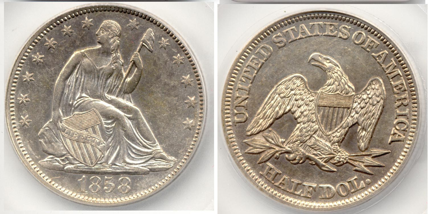1858 Seated Liberty Half Dollar SEGS AU-58 Cleaned
