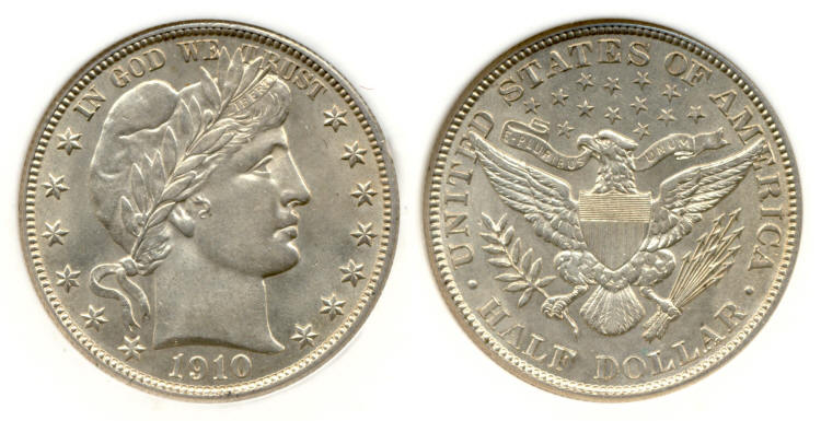1910 Barber Half Dollar PCI MS-64 small
