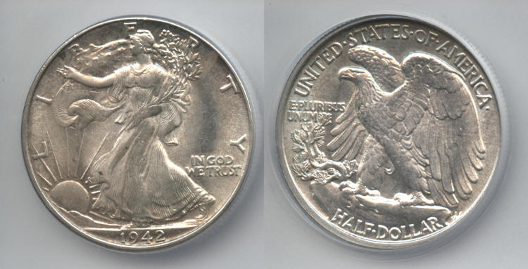 1942 Walking Liberty Half Dollar ICG MS-62 small