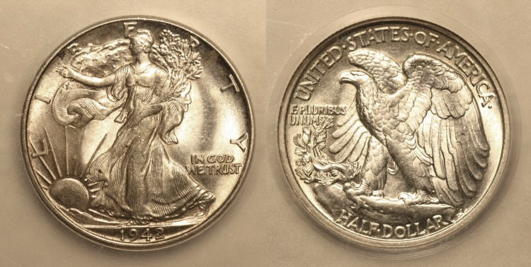 1942 Walking Liberty Half Dollar ICG MS-62 camera small