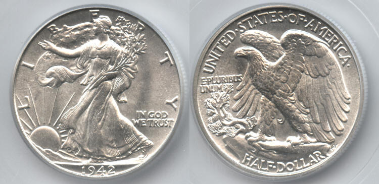 1942 Walking Liberty Half Dollar ICG MS-65 small