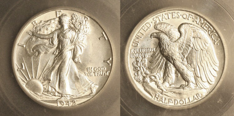 1942 Walking Liberty Half Dollar ICG MS-65 camera small