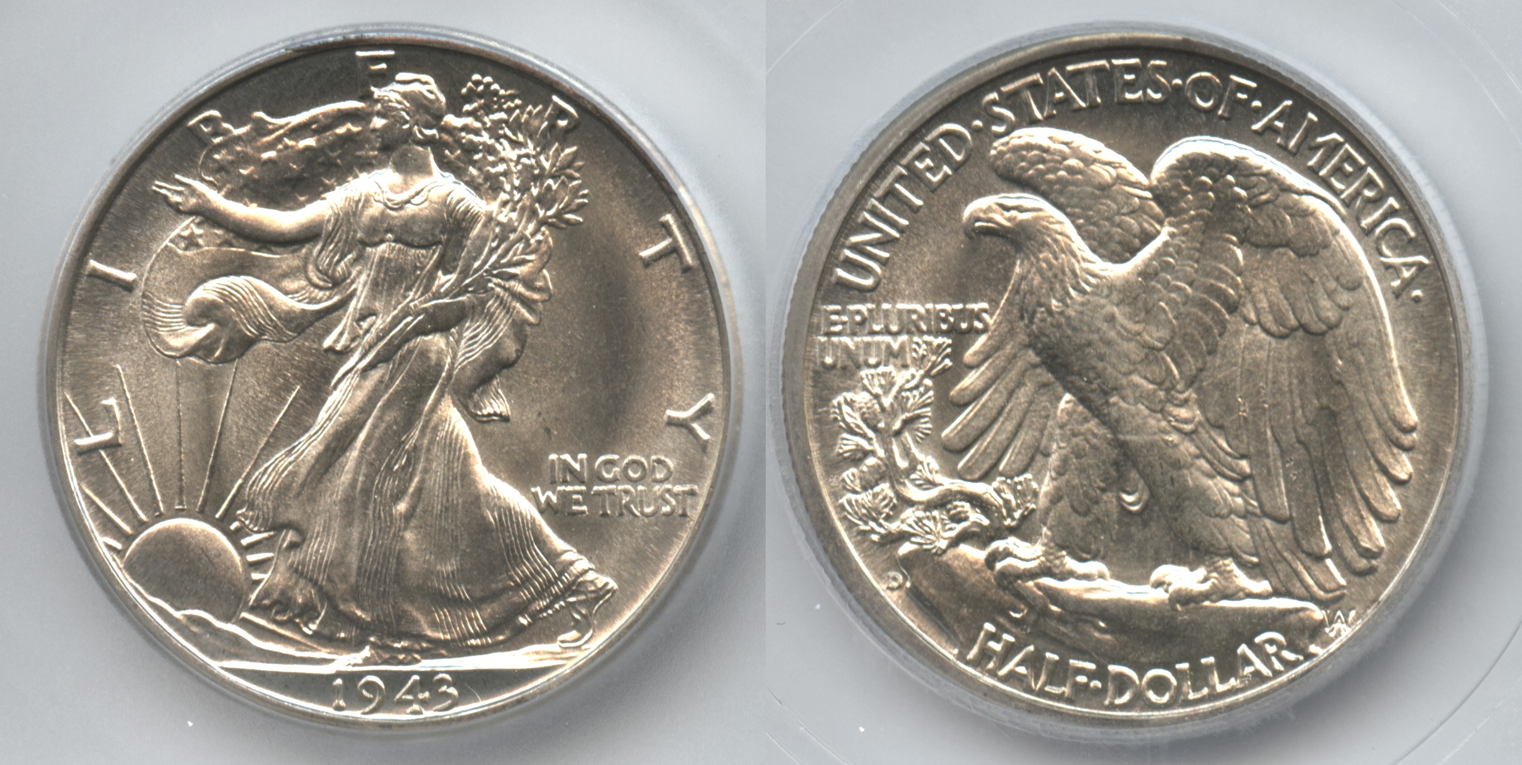 1943-D Walking Liberty Half Dollar ICG MS-65