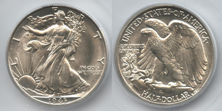 1943-D Walking Liberty Half Dollar ICG MS-65 small