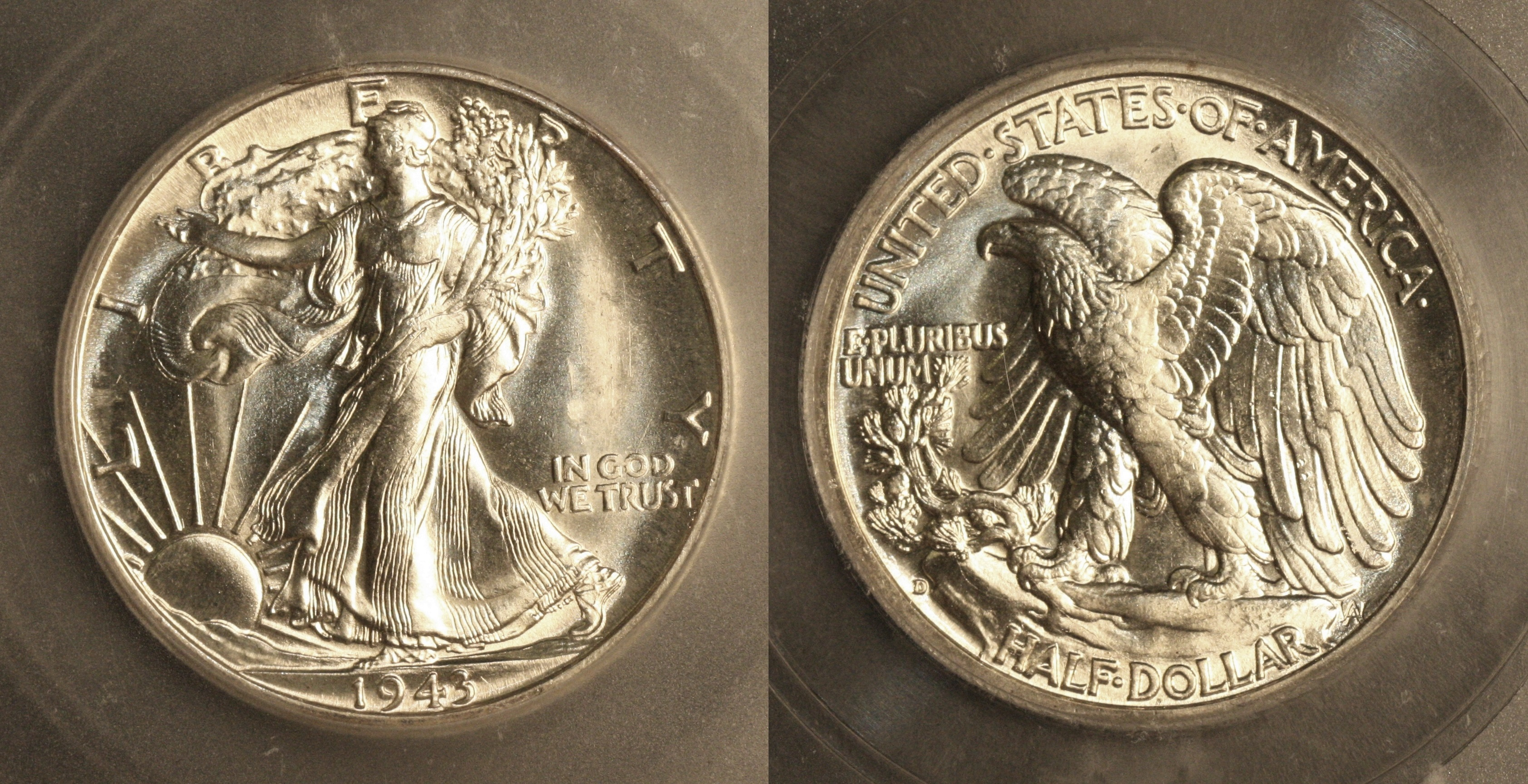 1943-D Walking Liberty Half Dollar ICG MS-65 camera