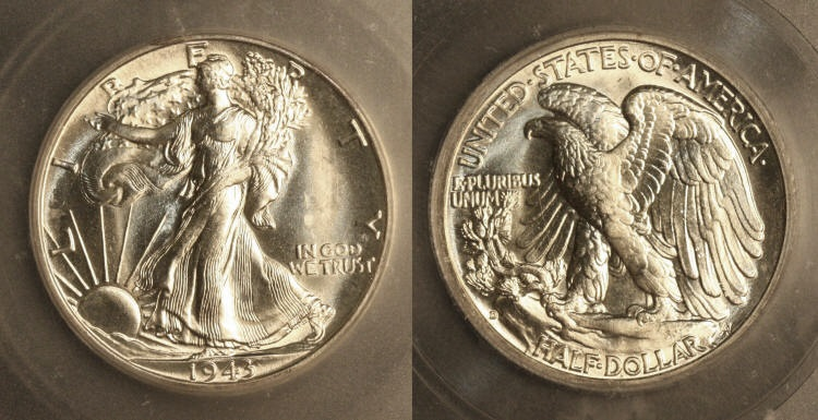 1943-D Walking Liberty Half Dollar ICG MS-65 camera small
