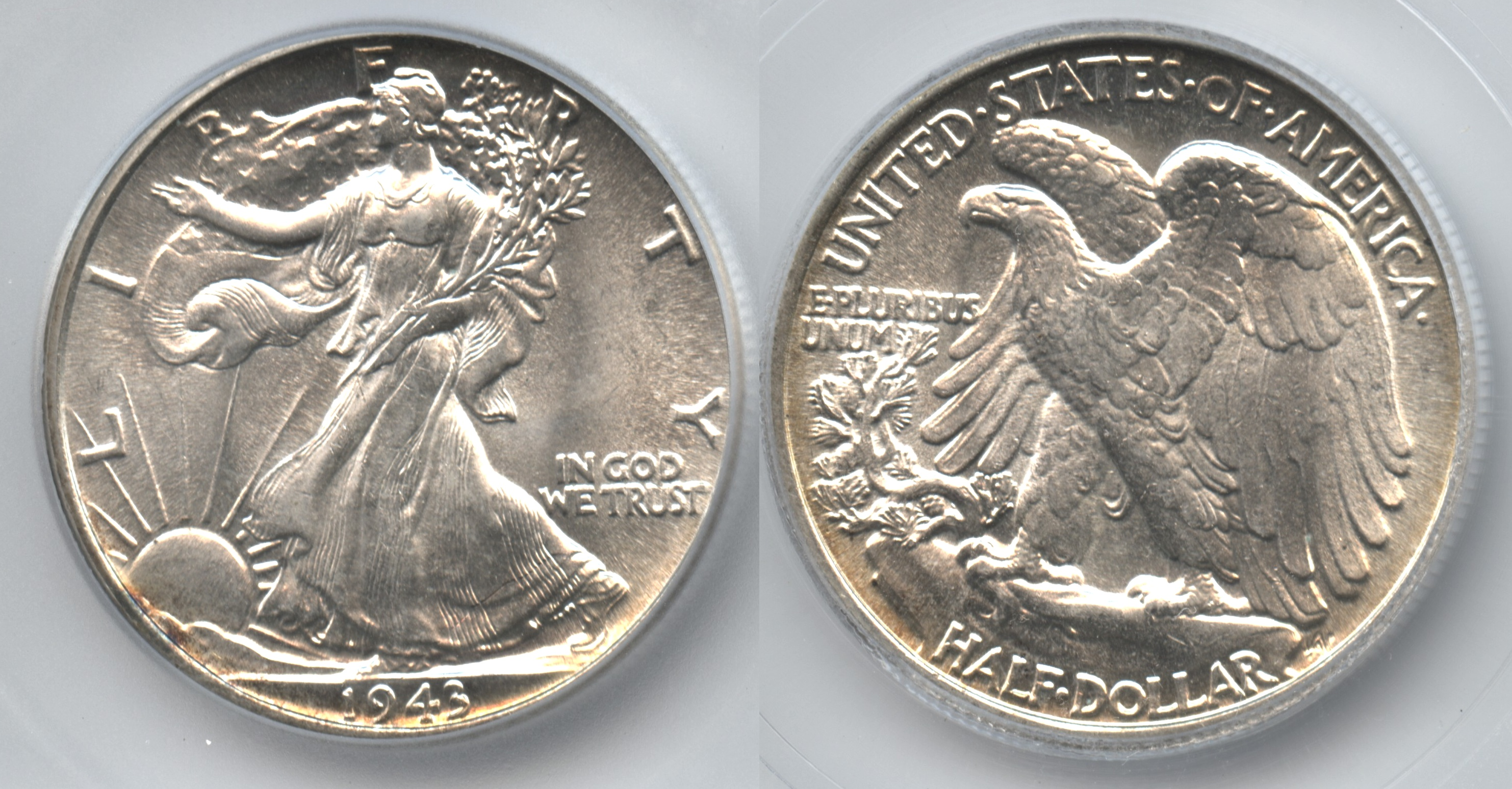 1943 Walking Liberty Half Dollar ICG MS-60 Details Scratched