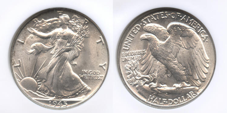1945 Walking Liberty Half Dollar NGC MS-65 small