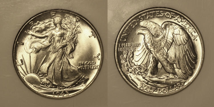 1945 Walking Liberty Half Dollar NGC MS-65 camera small