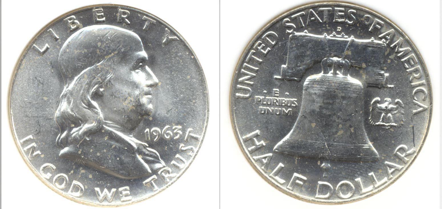 1963-D Franklin Half Dollar PCI MS-65 b
