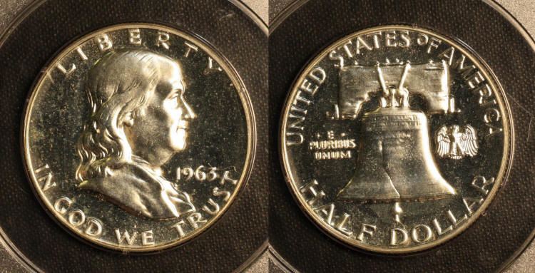 1963 Franklin Half Dollar PCGS Proof-65 camera small