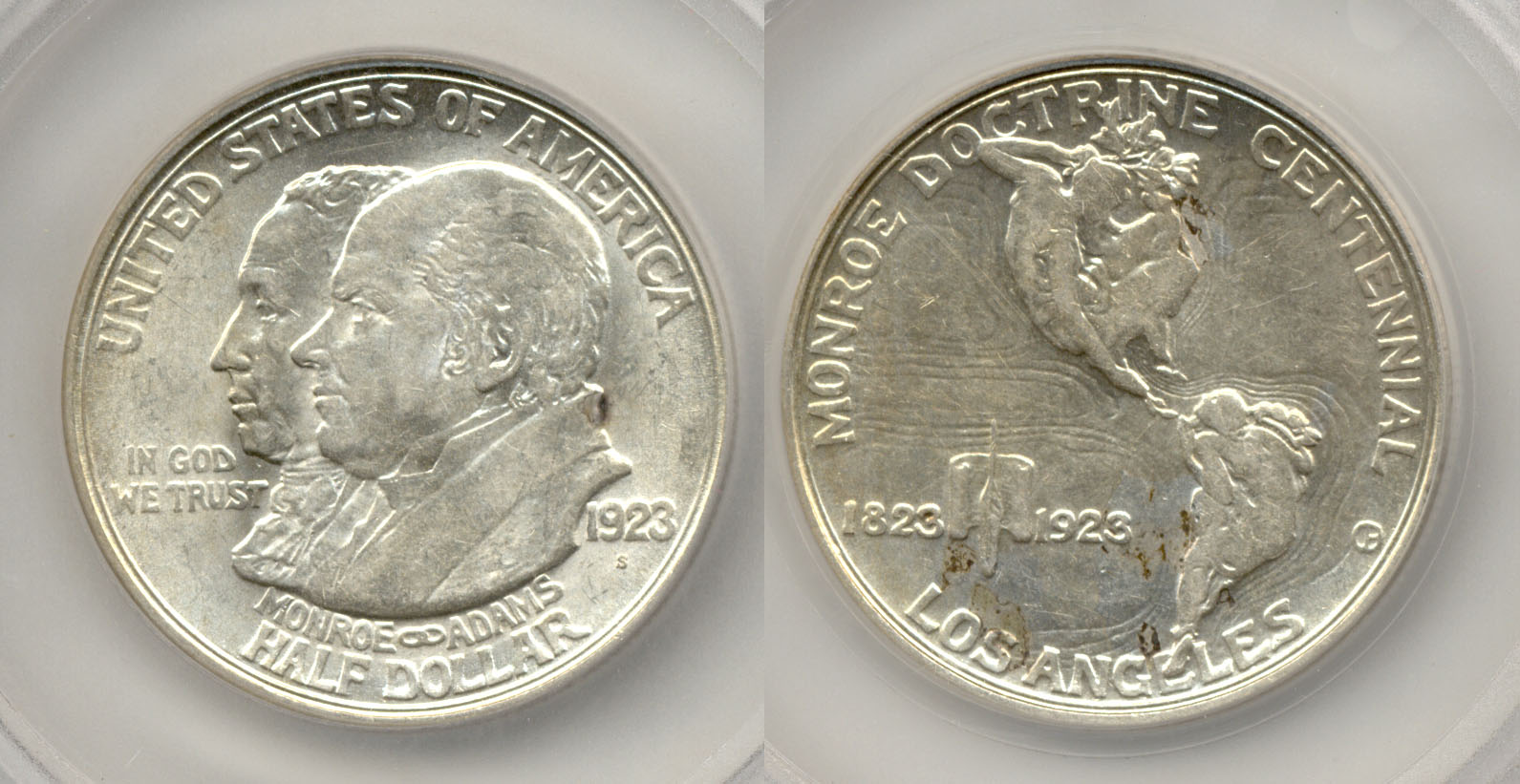1923-S Monroe Commemorative Half Dollar in SEGS MS-63