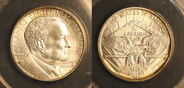 1936 Robinson Arkansas Commemorative Half Dollar ANACS MS-65 camera small