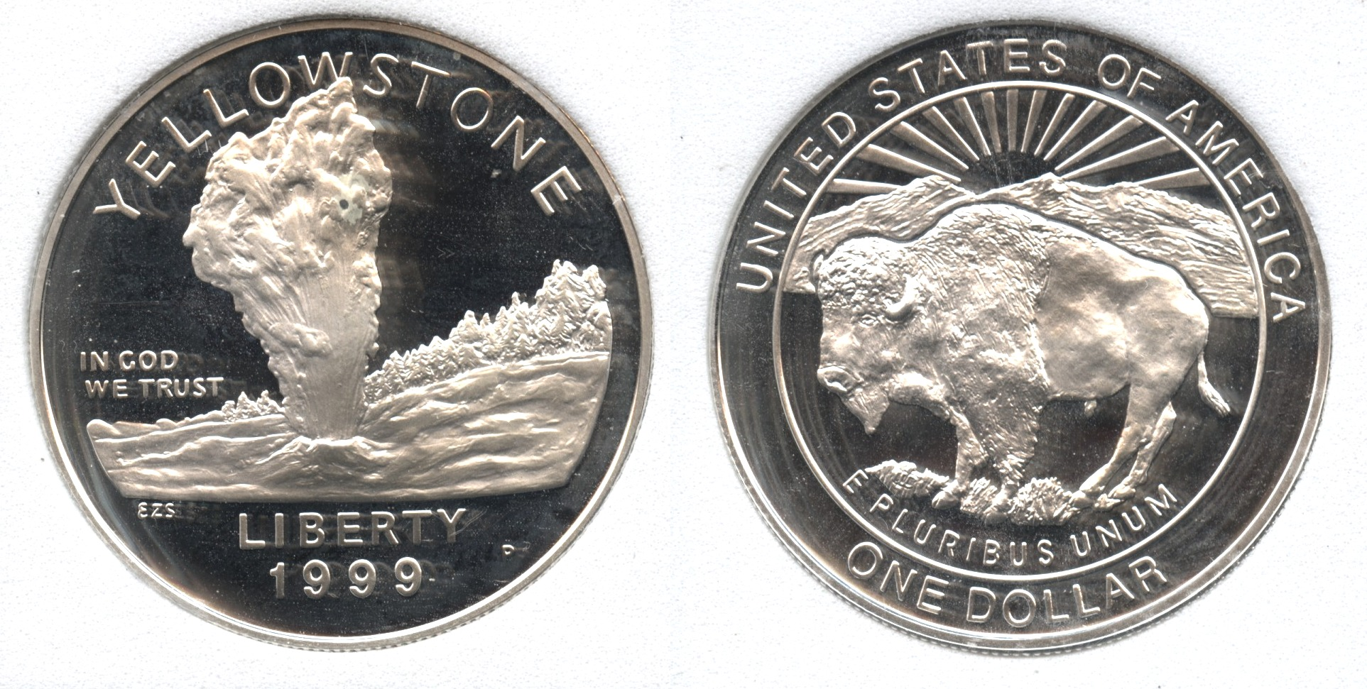 1999-P Yellowstone National Park Commemorative Silver Dollar SGS Proof-70