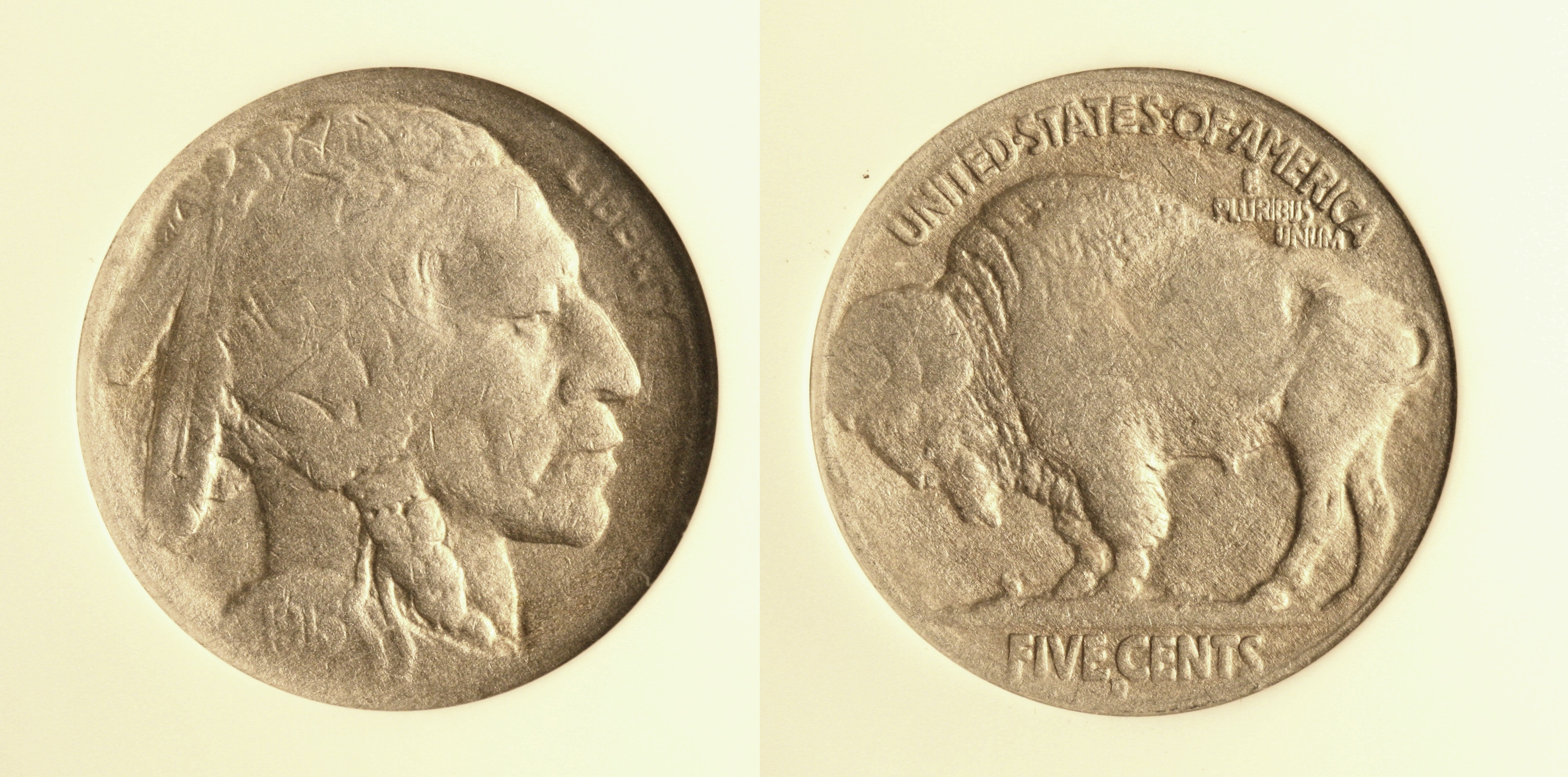 1913-D Type 2 Buffalo Nickel PCI F-12 Chemically Altered camera