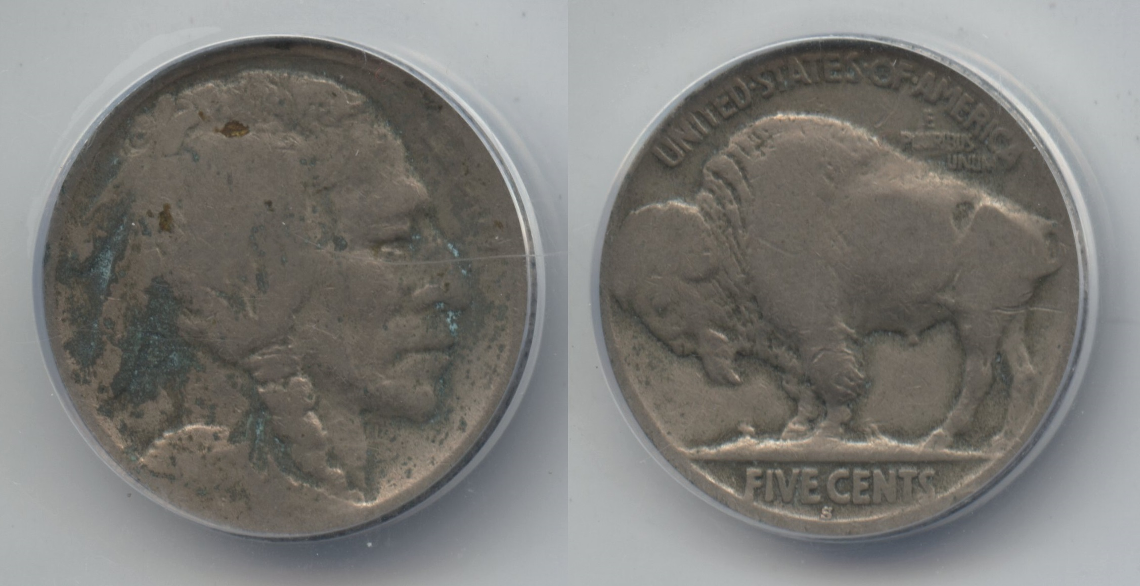 1913-S Type 2 Buffalo Nickel ANACS Good-4 #a Corroded Cleaned