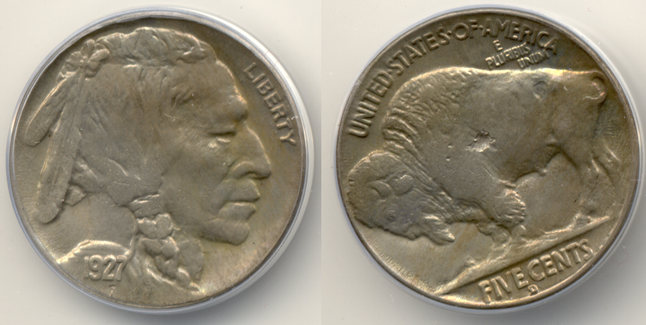 1927-D Buffalo Nickel ANACS MS-64 Struck Through Error
