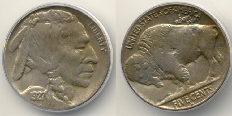 1927-D Buffalo Nickel ANACS MS-64 Struck Through Error small