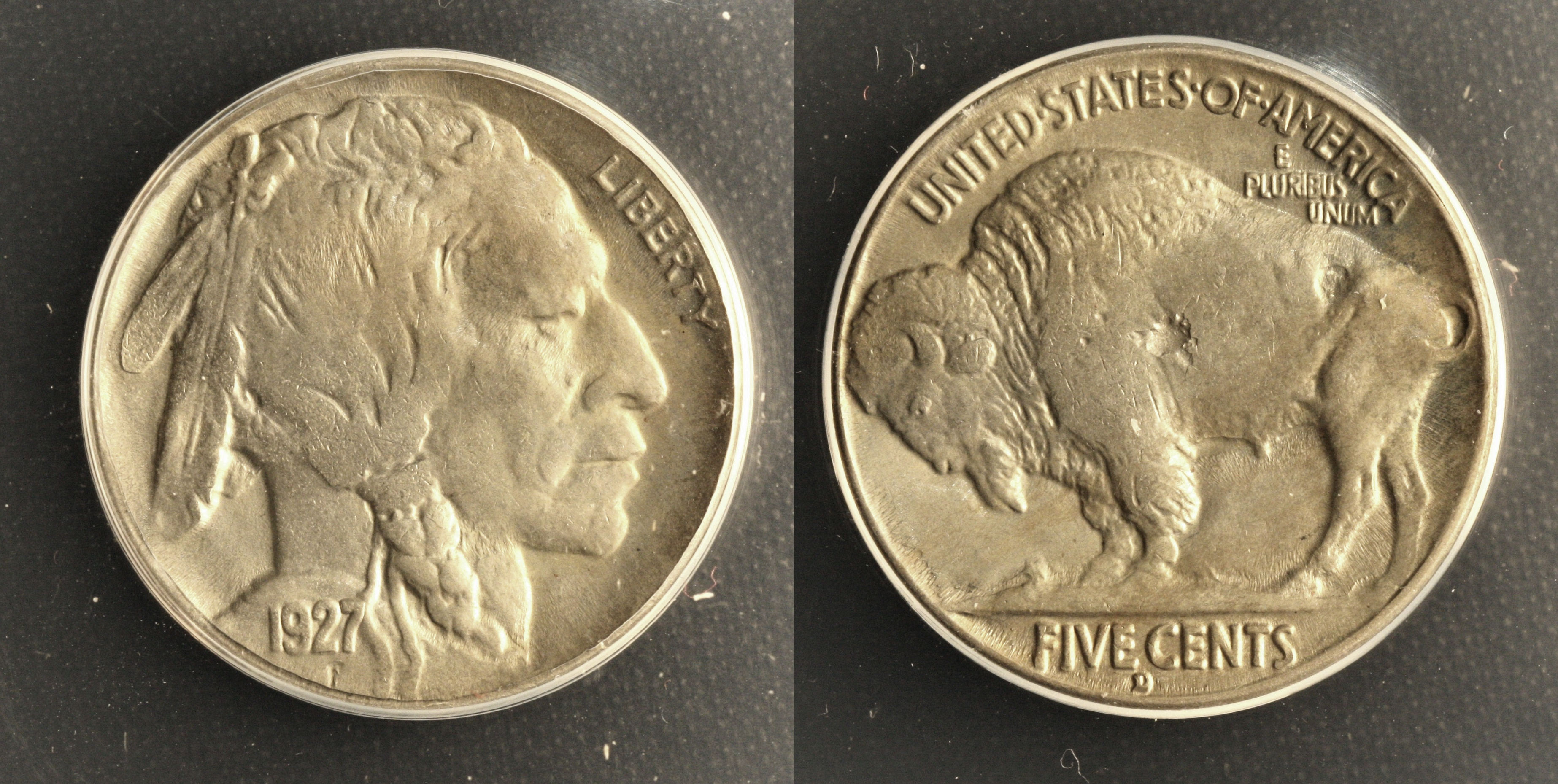 1927-D Buffalo Nickel ANACS MS-64 Struck Through Error camera