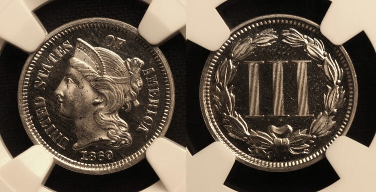1869 Three Cent Nickel NGC Proof-65 Cameo camera small