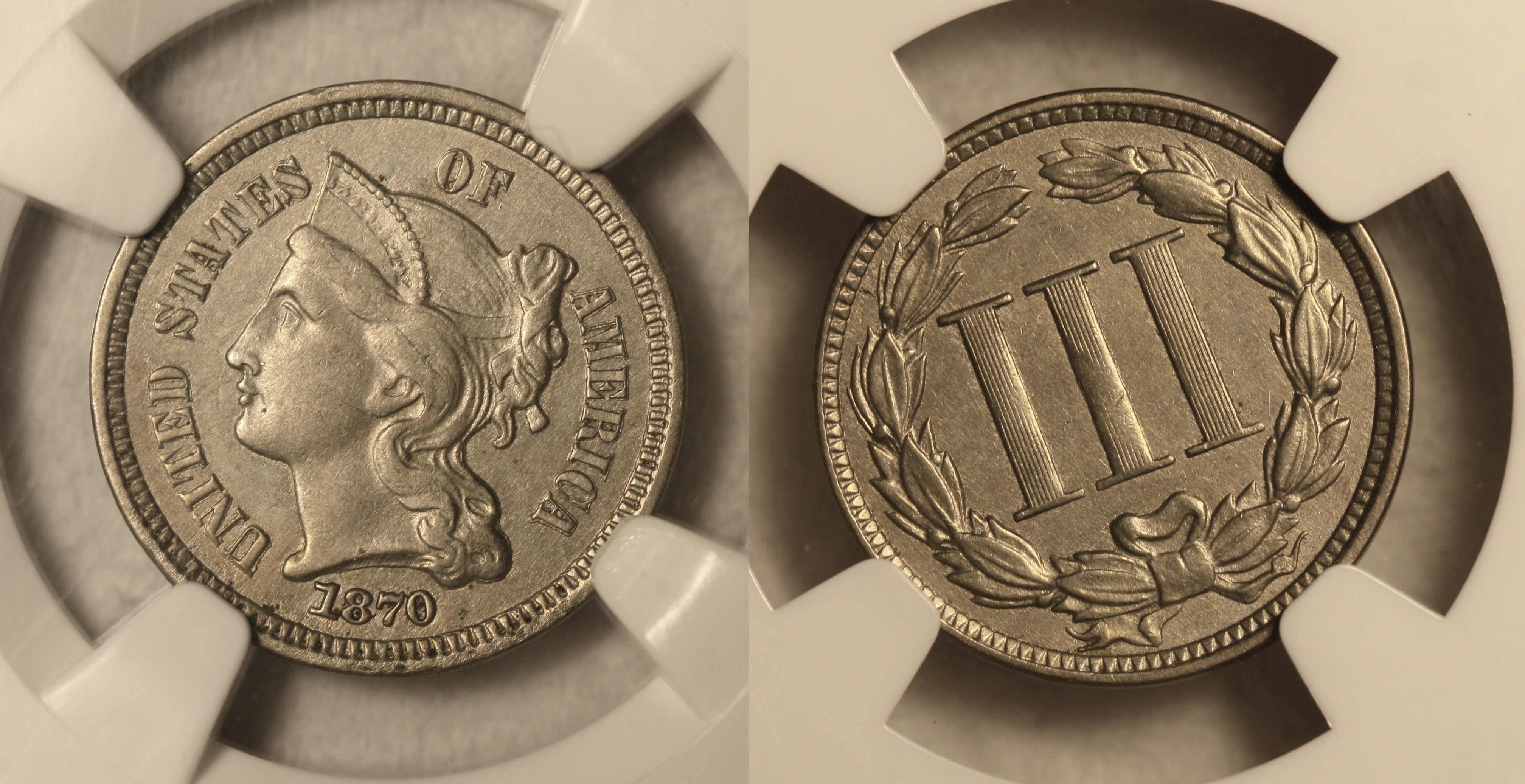 1870 Three Cent Nickel NGC AU-58 camera