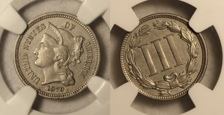 1870 Three Cent Nickel NGC AU-58 camera small