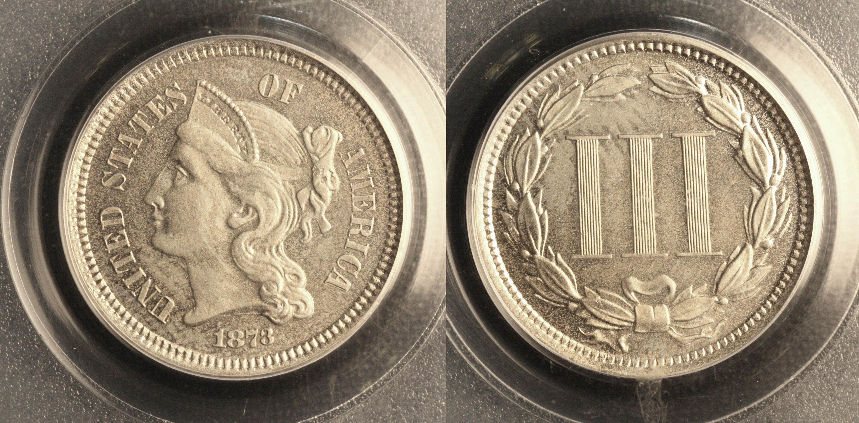 1873 Three Cent Nickel PCGS Proof-64 camera