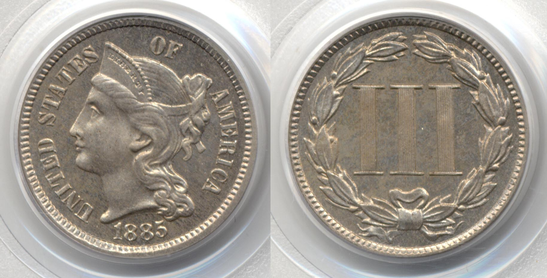 1885 Three Cent Nickel PCGS Proof-64
