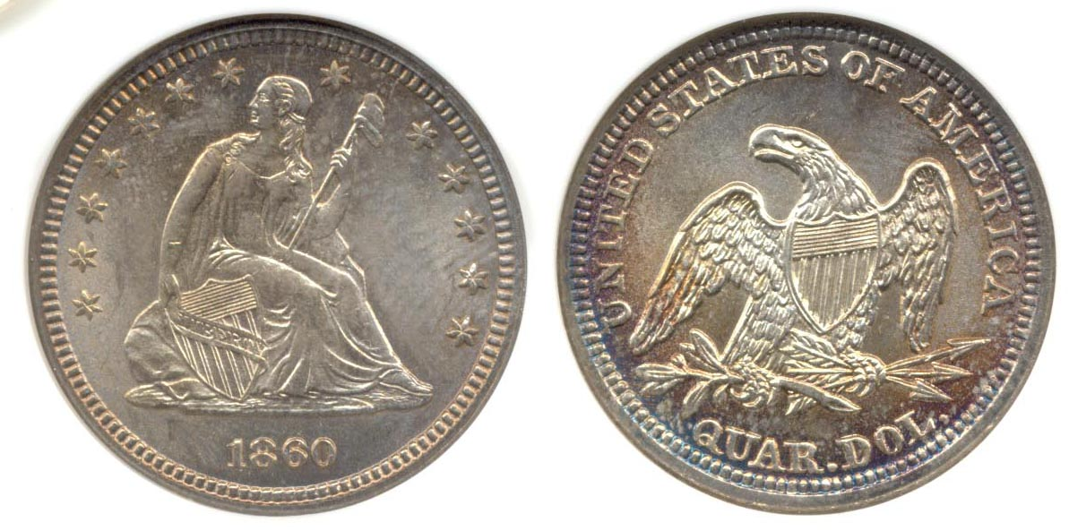 1860 Seated Liberty Quarter MS-64