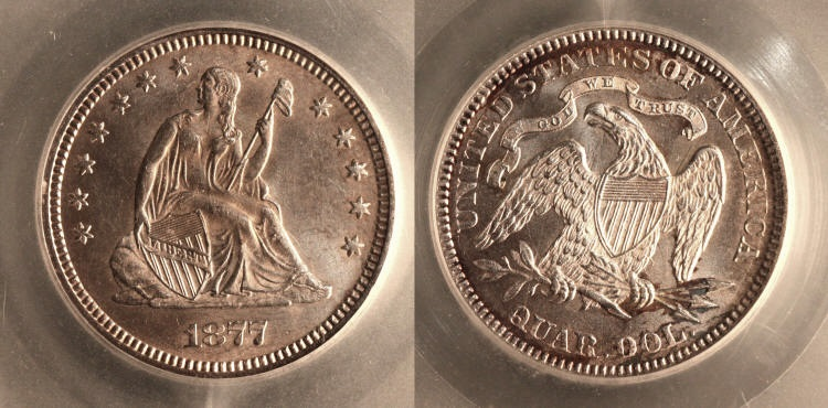1877 Seated Liberty Quarter SEGS MS-64 camera small