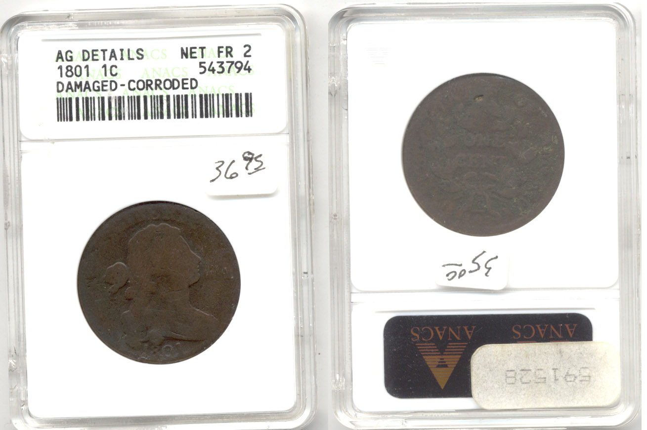 1801 Draped Bust Large Cent ANACS net Fair-2
